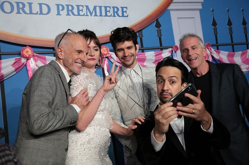 John DeLuca, Emily Mortimer, Ben Whishaw, Lin-Manuel Miranda and Marc Platt take a selfie at The World Premiere of Disney's Mary Poppins Returns at the Dolby Theatre in Hollywood, CA on Wednesday, November 29, 2018 (Photo: Alex J. Berliner/ABImages)