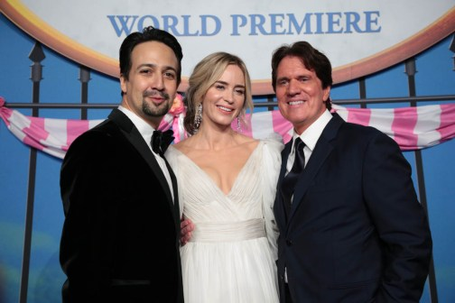 Lin-Manuel Miranda, Emily Blunt and Rob Marshall attend The World Premiere of Disney's Mary Poppins Returns at the Dolby Theatre in Hollywood, CA on Wednesday, November 29, 2018 (Photo: Alex J. Berliner/ABImages)