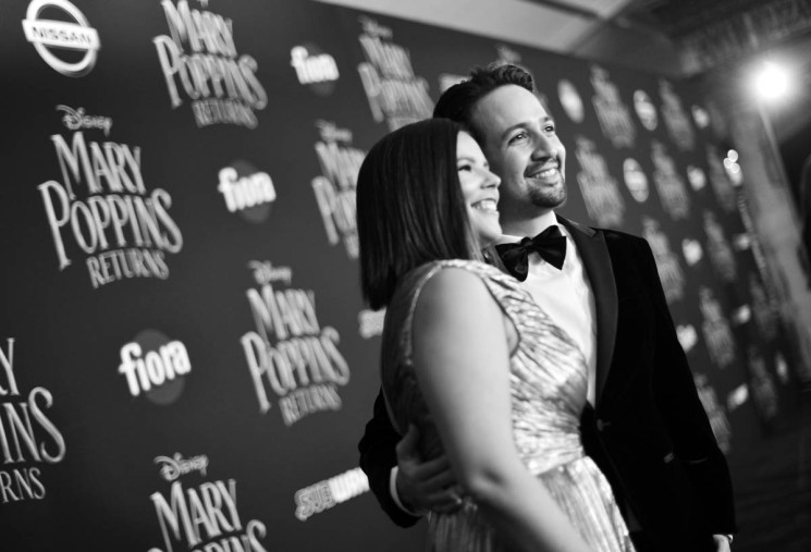 HOLLYWOOD, CA - NOVEMBER 29: (EDITORS NOTE: Image has been shot in black and white. No color version available) Vanessa Nadal (L) and actor Lin-Manuel Miranda attend Disney's 'Mary Poppins Returns' World Premiere at the Dolby Theatre on November 29, 2018 in Hollywood, California. (Photo by Charley Gallay/Getty Images for Disney) *** Local Caption *** Vanessa Nadal; Lin-Manuel Miranda