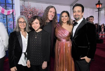 "HOLLYWOOD, CA - NOVEMBER 29: (L-R) Suzanne Yankovic, Nina Yankovic, ""Weird Al"" Yankovic, Vanessa Nadal and actor Lin-Manuel Miranda attend Disney's 'Mary Poppins Returns' World Premiere at the Dolby Theatre on November 29, 2018 in Hollywood, California. (Photo by Charley Gallay/Getty Images for Disney) *** Local Caption *** Suzanne Yankovic; Nina Yankovic; ""Weird Al"" Yankovic; Vanessa Nadal; Lin-Manuel Miranda"
