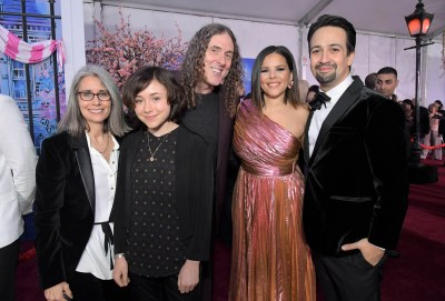 """HOLLYWOOD, CA - NOVEMBER 29: (L-R) Suzanne Yankovic, Nina Yankovic, """"Weird Al"""" Yankovic, Vanessa Nadal and actor Lin-Manuel Miranda attend Disney's 'Mary Poppins Returns' World Premiere at the Dolby Theatre on November 29, 2018 in Hollywood, California. (Photo by Charley Gallay/Getty Images for Disney) *** Local Caption *** Suzanne Yankovic; Nina Yankovic; """"Weird Al"""" Yankovic; Vanessa Nadal; Lin-Manuel Miranda"""