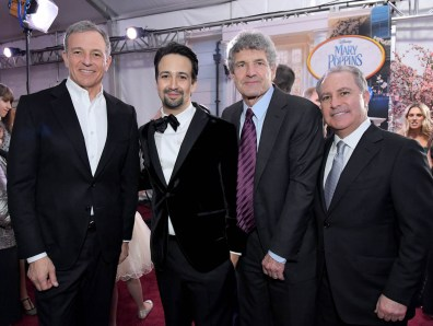 HOLLYWOOD, CA - NOVEMBER 29: (L-R) The Walt Disney Company Chairman and CEO Bob Iger, actor Lin-Manuel Miranda, Chairman, The Walt Disney Studios, Alan Horn and Walt Disney Studios President, Alan Bergman attend Disney's 'Mary Poppins Returns' World Premiere at the Dolby Theatre on November 29, 2018 in Hollywood, California. (Photo by Charley Gallay/Getty Images for Disney) *** Local Caption *** Bob Iger; Lin-Manuel Miranda; Alan Horn; Alan Bergman