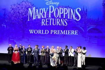 HOLLYWOOD, CA - NOVEMBER 29: (L-R) Production Designer John Myhre, Actor Karen Dotrice, Co-Lyricist Scott Wittman, Actor Jeremy Swift, Director/Producer Rob Marshall, Actor Lin-Manuel Miranda, Costume Designer Sandy Powell, Actors Dick Van Dyke, Joel Dawson, Emily Blunt, and Pixie Davies, Producers John DeLuca and Marc Platt, Actors Kobna Holdbrook-Smith and Tarik Frimpong, Screenwriter David Magee, and Actors Emily Mortimer and Ben Whishaw onstage during Disney's 'Mary Poppins Returns' World Premiere at the Dolby Theatre on November 29, 2018 in Hollywood, California. (Photo by Alberto E. Rodriguez/Getty Images for Disney) *** Local Caption *** John Myhre; Karen Dotrice; Scott Wittman; David Magee; Rob Marshall; Lin-Manuel Miranda; Jeremy Swift; Sandy Powell; Dick Van Dyke; Pixie Davies; Joel Dawson; Emily Blunt; Marc Platt; John DeLuca; Kobna Holdbrook-Smith; Tarik Frimpong; Ben Whishaw; Emily Mortimer