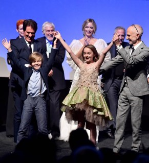 HOLLYWOOD, CA - NOVEMBER 29: (L-R) Director/Producer Rob Marshall, Actor Joel Dawson, Dick Van Dyke, Emily Blunt, Pixie Davies, and Producer John DeLuca onstage during Disney's 'Mary Poppins Returns' World Premiere at the Dolby Theatre on November 29, 2018 in Hollywood, California. (Photo by Alberto E. Rodriguez/Getty Images for Disney) *** Local Caption *** Rob Marshall; Joel Dawson; Pixie Davies; Dick Van Dyke; John DeLuca; Emily Blunt