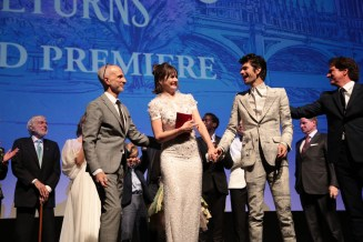 John DeLuca, Emily Mortimer, Ben Whishaw and Rob Marshall joined on stage by cast and filmmakers at The World Premiere of Disney's Mary Poppins Returns at the Dolby Theatre in Hollywood, CA on Wednesday, November 29, 2018 (Photo: Alex J. Berliner/ABImages)