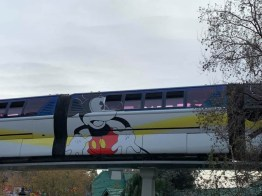 Blue Monorail With Mickey Mouse Paint Job at Disneyland-3