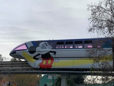 Blue Monorail With Mickey Mouse Paint Job at Disneyland-5
