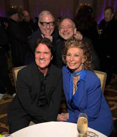 """BEVERLY HILLS, CA - JANUARY 11: Sophia Loren host a star-studded reception for """"Mary Poppins Returns,"""" nominated for 4 Golden Globe® Awards including Best Picture, 9 Critics' Choice Awards and AFI's Top 10 Films of 2018 at a special screening. Filmmakers joining her at the reception were: director Rob Marshall, producer John DeLuca, director of photography Dion Beebe, production designer John Myhre, composer, songwriter/co-lyricist Marc Shaiman and co-lyricist Scott Wittman>> at Montage Beverly Hills on January 11, 2019 in Beverly Hills, California (Photo by Charley Gallay/Getty Images for Disney) *** Local Caption *** Rob Marshall;Sophia Loren;Scott Whitman;Marc Shaiman"""