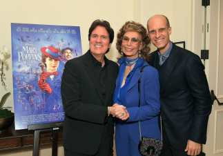 "BEVERLY HILLS, CA - JANUARY 11: Sophia Loren host a star-studded reception for ""Mary Poppins Returns,"" nominated for 4 Golden Globe® Awards including Best Picture, 9 Critics' Choice Awards and AFI's Top 10 Films of 2018 at a special screening. Filmmakers joining her at the reception were: director Rob Marshall, producer John DeLuca, director of photography Dion Beebe, production designer John Myhre, composer, songwriter/co-lyricist Marc Shaiman and co-lyricist Scott Wittman>> at Montage Beverly Hills on January 11, 2019 in Beverly Hills, California (Photo by Charley Gallay/Getty Images for Disney) *** Local Caption *** Rob Marshall;Sophia Loren;Edoardo Ponti"