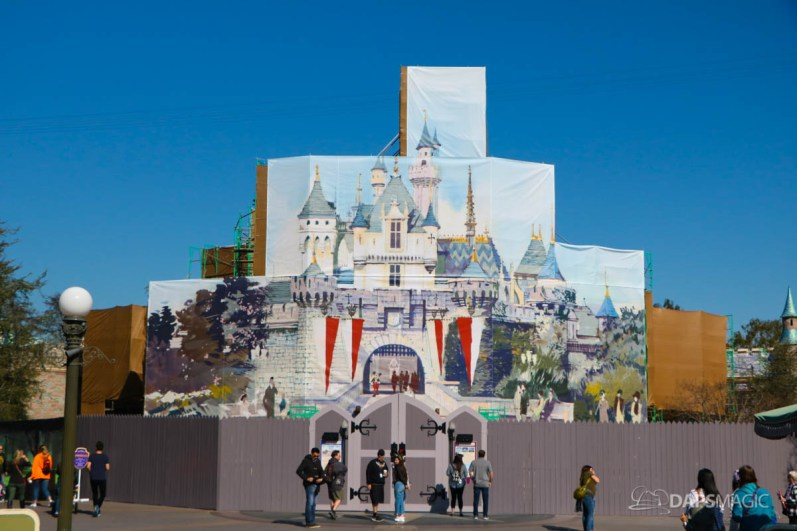 New Scrims on Sleeping Beauty Castle Refurbishment Walk Around at the Disneyland Resort-8