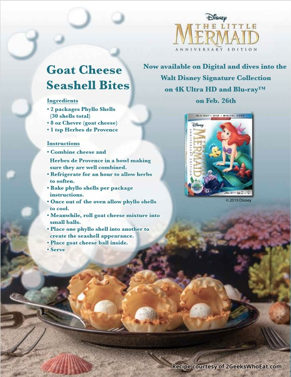 Goat Cheese Seashell Bites – GEEK EATS The Little Mermaid Recipe