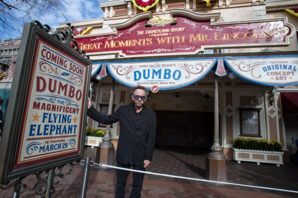 Director Tim Burton poses after surprising Disneyland Park guests in Anaheim, Calif., March 9, 2019, during a sneak peek of the upcoming grand live-action adventure ÒDumbo,Ó in theaters March 29. For a limited time, a sneak peek of the film can be seen in the Main Street Opera House at Disneyland Park. (Joshua Sudock/Disneyland Resort)