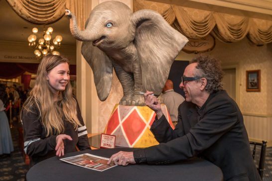 Director Tim Burton signs movie posters for Disneyland Park guests in Anaheim, Calif., March 9, 2019, following a sneak peek of the upcoming grand live-action adventure ÒDumbo,Ó in theaters March 29. For a limited time, a sneak peek of the film can be seen in the Main Street Opera House at Disneyland Park. (Joshua Sudock/Disneyland Resort)