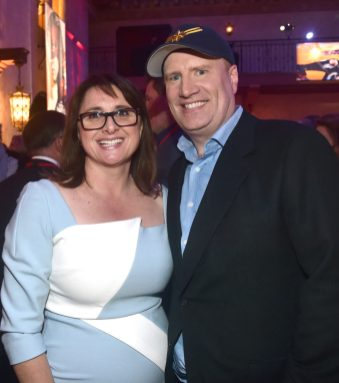 "HOLLYWOOD, CA - MARCH 04: (L-R) Executive Producer Victoria Alonso and President of Marvel Studios/Producer Kevin Feige attend the Los Angeles World Premiere of Marvel Studios' ""Captain Marvel"" at Dolby Theatre on March 4, 2019 in Hollywood, California. (Photo by Alberto E. Rodriguez/Getty Images for Disney) *** Local Caption *** Victoria Alonso; Kevin Feige"