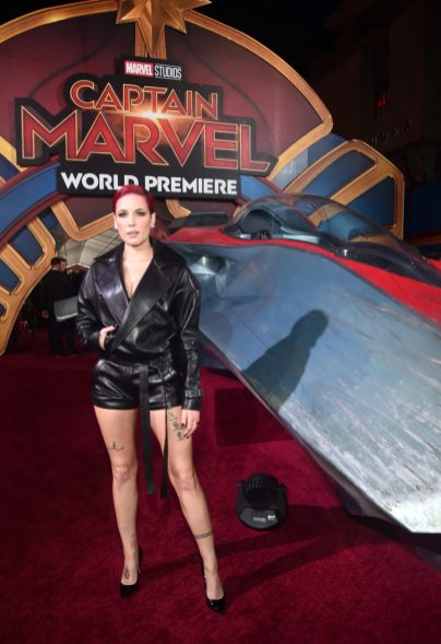 "HOLLYWOOD, CA - MARCH 04: Halsey attends the Los Angeles World Premiere of Marvel Studios' ""Captain Marvel"" at Dolby Theatre on March 4, 2019 in Hollywood, California. (Photo by Alberto E. Rodriguez/Getty Images for Disney) *** Local Caption *** Halsey"