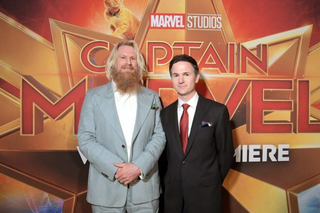 "HOLLYWOOD, CA - MARCH 04: (L-R) Actor Rune Temte and director/writer Ryan Fleck attend the Los Angeles World Premiere of Marvel Studios' ""Captain Marvel"" at Dolby Theatre on March 4, 2019 in Hollywood, California. (Photo by Charley Gallay/Getty Images for Disney) *** Local Caption *** Ryan Fleck; Rune Temte"