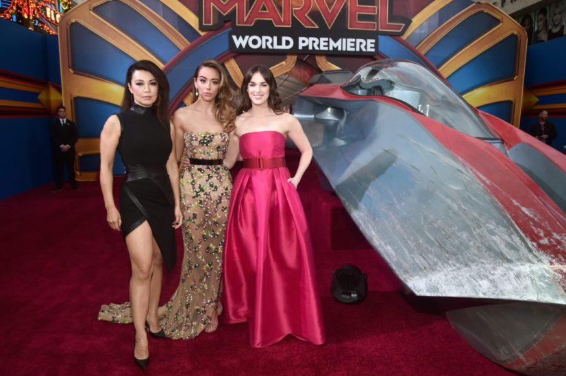 "HOLLYWOOD, CA - MARCH 04: (L-R) Actors Ming-Na Wen, Chloe Bennet and Elizabeth Henstridge attend the Los Angeles World Premiere of Marvel Studios' ""Captain Marvel"" at Dolby Theatre on March 4, 2019 in Hollywood, California. (Photo by Alberto E. Rodriguez/Getty Images for Disney) *** Local Caption *** Elizabeth Henstridge; Chloe Bennet; Ming-Na Wen"