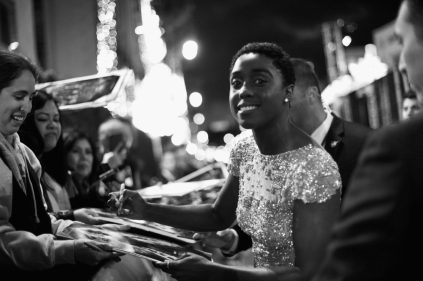 "HOLLYWOOD, CA - MARCH 04: (EDITORS NOTE: Image has been shot in black and white. Color version not available.) Actor Lashana Lynch attends the Los Angeles World Premiere of Marvel Studios' ""Captain Marvel"" at Dolby Theatre on March 4, 2019 in Hollywood, California. (Photo by Charley Gallay/Getty Images for Disney) *** Local Caption *** Lashana Lynch"