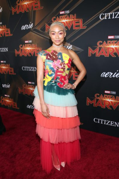 """HOLLYWOOD, CA - MARCH 04: Actor Tati Gabrielle attends the Los Angeles World Premiere of Marvel Studios' """"Captain Marvel"""" at Dolby Theatre on March 4, 2019 in Hollywood, California. (Photo by Jesse Grant/Getty Images for Disney) *** Local Caption *** Tati Gabrielle"""