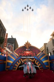 """HOLLYWOOD, CA - MARCH 04: Jets are seen during the Los Angeles World Premiere of Marvel Studios' """"Captain Marvel"""" at Dolby Theatre on March 4, 2019 in Hollywood, California. (Photo by Jesse Grant/Getty Images for Disney)"""