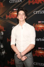 "HOLLYWOOD, CA - MARCH 04: Actor Milo Manheim attends the Los Angeles World Premiere of Marvel Studios' ""Captain Marvel"" at Dolby Theatre on March 4, 2019 in Hollywood, California. (Photo by Jesse Grant/Getty Images for Disney) *** Local Caption *** Milo Manheim"
