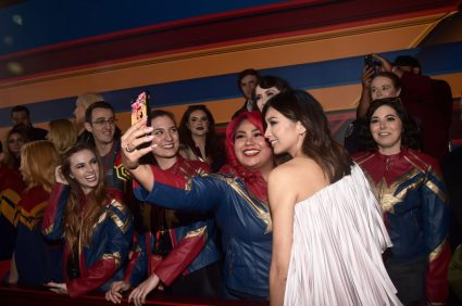 "HOLLYWOOD, CA - MARCH 04: Actor Gemma Chan (R) attends the Los Angeles World Premiere of Marvel Studios' ""Captain Marvel"" at Dolby Theatre on March 4, 2019 in Hollywood, California. (Photo by Alberto E. Rodriguez/Getty Images for Disney) *** Local Caption *** Gemma Chan"