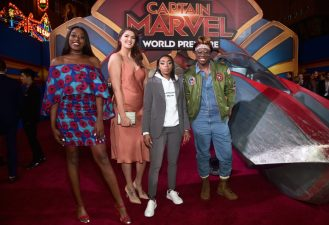 """HOLLYWOOD, CA - MARCH 04: (L-R) Chiney Ogwumike, Stefanie Dolson, Renee Montgomery, and Essence Carson attend the Los Angeles World Premiere of Marvel Studios' """"Captain Marvel"""" at Dolby Theatre on March 4, 2019 in Hollywood, California. (Photo by Alberto E. Rodriguez/Getty Images for Disney) *** Local Caption *** Chiney Ogwumike; Essence Carson; Renee Montgomery; Stefanie Dolson"""