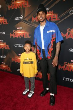 "HOLLYWOOD, CA - MARCH 04: (L-R) Nick Young Jr. and Nick Young attend the Los Angeles World Premiere of Marvel Studios' ""Captain Marvel"" at Dolby Theatre on March 4, 2019 in Hollywood, California. (Photo by Jesse Grant/Getty Images for Disney) *** Local Caption *** Nick Young; Nick Young Jr."