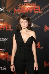 """HOLLYWOOD, CA - MARCH 04: Actor Milana Aleksandrovna Vayntrub attends the Los Angeles World Premiere of Marvel Studios' """"Captain Marvel"""" at Dolby Theatre on March 4, 2019 in Hollywood, California. (Photo by Jesse Grant/Getty Images for Disney) *** Local Caption *** Milana Aleksandrovna Vayntrub"""