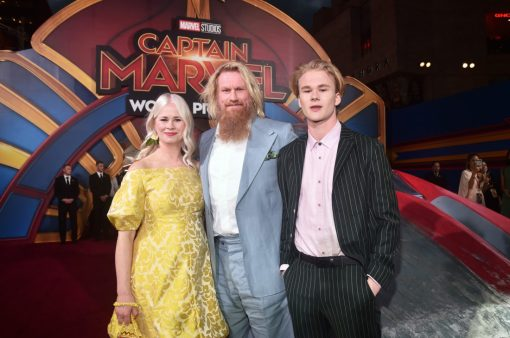 "HOLLYWOOD, CA - MARCH 04: (L-R) Thea Glimsdal Temte, actor Rune Temte, and Martinius Glimsdal Temte attend the Los Angeles World Premiere of Marvel Studios' ""Captain Marvel"" at Dolby Theatre on March 4, 2019 in Hollywood, California. (Photo by Alberto E. Rodriguez/Getty Images for Disney) *** Local Caption *** Martinius Glimsdal Temte; Rune Temte; Thea Glimsdal Temte"