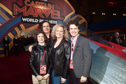 """HOLLYWOOD, CA - MARCH 04: Writer Meg LeFauve (2nd R) and guests attend the Los Angeles World Premiere of Marvel Studios' """"Captain Marvel"""" at Dolby Theatre on March 4, 2019 in Hollywood, California. (Photo by Alberto E. Rodriguez/Getty Images for Disney) *** Local Caption *** Meg LeFauve"""
