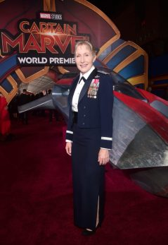 "HOLLYWOOD, CA - MARCH 04: Brigadier General Jeannie M. Leavitt attends the Los Angeles World Premiere of Marvel Studios' ""Captain Marvel"" at Dolby Theatre on March 4, 2019 in Hollywood, California. (Photo by Alberto E. Rodriguez/Getty Images for Disney) *** Local Caption *** Jeannie Leavitt"