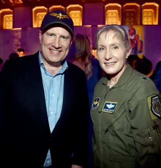 """HOLLYWOOD, CA - MARCH 04: President of Marvel Studios and producer Kevin Feige and Brigadier General Jeannie M. Leavitt attend the Los Angeles World Premiere of Marvel Studios' """"Captain Marvel"""" at Dolby Theatre on March 4, 2019 in Hollywood, California. (Photo by Alberto E. Rodriguez/Getty Images for Disney) *** Local Caption *** Jeannie Leavitt; Kevin Feige"""