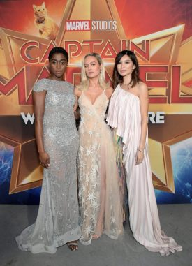 """HOLLYWOOD, CA - MARCH 04: (L-R) Actors Lashana Lynch, Brie Larson and Gemma Chan attend the Los Angeles World Premiere of Marvel Studios' """"Captain Marvel"""" at Dolby Theatre on March 4, 2019 in Hollywood, California. (Photo by Charley Gallay/Getty Images for Disney) *** Local Caption *** Lashana Lynch; Brie Larson; Gemma Chan"""