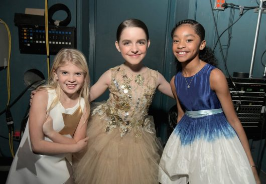 """HOLLYWOOD, CA - MARCH 04: (L-R) Actors London Fuller, Mckenna Grace and Akira Akbar attend the Los Angeles World Premiere of Marvel Studios' """"Captain Marvel"""" at Dolby Theatre on March 4, 2019 in Hollywood, California. (Photo by Charley Gallay/Getty Images for Disney) *** Local Caption *** London Fuller; Mckenna Grace; Akira Akbar"""