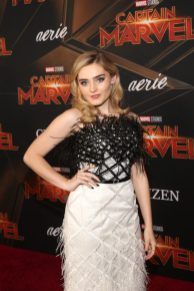 """HOLLYWOOD, CA - MARCH 04: Meg Donnelly attends the Los Angeles World Premiere of Marvel Studios' """"Captain Marvel"""" at Dolby Theatre on March 4, 2019 in Hollywood, California. (Photo by Jesse Grant/Getty Images for Disney) *** Local Caption *** Meg Donnelly"""