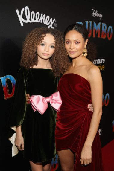 "LOS ANGELES, CA - MARCH 11: Actors Nico Parker (L) and Thandie Newton attend the World Premiere of Disney's ""Dumbo"" at the El Capitan Theatre on March 11, 2019 in Los Angeles, California. (Photo by Jesse Grant/Getty Images for Disney) *** Local Caption *** Nico Parker; Thandie Newton"