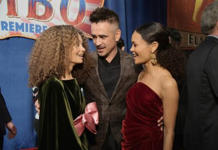 """LOS ANGELES, CA - MARCH 11: (L-R) Actors Nico Parker, Colin Farrell and Thandie Newton attend the World Premiere of Disney's """"Dumbo"""" at the El Capitan Theatre on March 11, 2019 in Los Angeles, California. (Photo by Charley Gallay/Getty Images for Disney) *** Local Caption *** Thandie Newton; Nico Parker; Colin Farrell"""