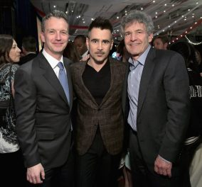 """LOS ANGELES, CA - MARCH 11: (L-R) President of Walt Disney Studios Motion Picture Production, Sean Bailey, actor Colin Farrell and Chairman, The Walt Disney Studios, Alan Horn attend the World Premiere of Disney's """"Dumbo"""" at the El Capitan Theatre on March 11, 2019 in Los Angeles, California. (Photo by Charley Gallay/Getty Images for Disney) *** Local Caption *** Sean Bailey; Colin Farrell; Alan Horn"""