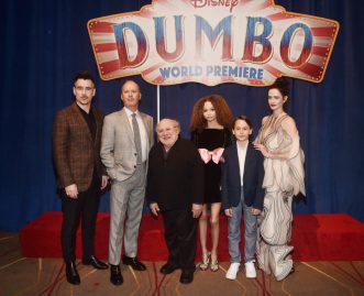 "LOS ANGELES, CA - MARCH 11: (L-R) Actors Colin Farrell, Michael Keaton, Danny DeVito, Nico Parker, Finley Hobbins and Eva Green attend the World Premiere of Disney's ""Dumbo"" at the El Capitan Theatre on March 11, 2019 in Los Angeles, California. (Photo by Alberto E. Rodriguez/Getty Images for Disney) *** Local Caption *** Eva Green; Colin Farrell; Michael Keaton; Danny DeVito; Nico Parker; Finley Hobbins"
