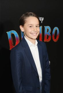 """LOS ANGELES, CA - MARCH 11: Actor Finley Hobbins attends the World Premiere of Disney's """"Dumbo"""" at the El Capitan Theatre on March 11, 2019 in Los Angeles, California. (Photo by Jesse Grant/Getty Images for Disney) *** Local Caption *** Finley Hobbins"""
