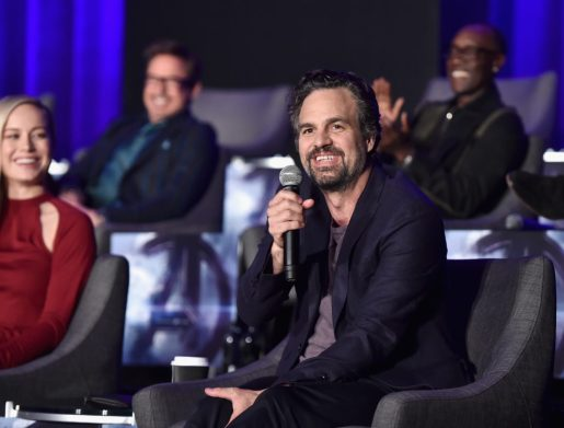 """LOS ANGELES, CA - APRIL 07: (L-R) Brie Larson, Robert Downey Jr., Mark Ruffalo and Don Cheadle speak onstage during Marvel Studios' """"Avengers: Endgame"""" Global Junket Press Conference at the InterContinental Los Angeles Downtown on April 7, 2019 in Los Angeles, California. (Photo by Alberto E. Rodriguez/Getty Images for Disney) *** Local Caption *** Brie Larson; Robert Downey Jr.; Mark Ruffalo; Don Cheadle"""