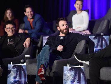 """LOS ANGELES, CA - APRIL 07: (front) Director Anthony Russo and Chris Evans, (back) Karen Gillan, Paul Rudd and Scarlett Johansson speak onstage during Marvel Studios' """"Avengers: Endgame"""" Global Junket Press Conference at the InterContinental Los Angeles Downtown on April 7, 2019 in Los Angeles, California. (Photo by Alberto E. Rodriguez/Getty Images for Disney) *** Local Caption *** Scarlett Johansson; Anthony Russo; Chris Evans; Karen Gillan; Paul Rudd"""