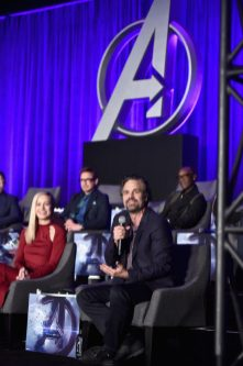 """LOS ANGELES, CA - APRIL 07: (front) Brie Larson and Chris Evans, (back) Robert Downey Jr. and Don Cheadle speak onstage during Marvel Studios' """"Avengers: Endgame"""" Global Junket Press Conference at the InterContinental Los Angeles Downtown on April 7, 2019 in Los Angeles, California. (Photo by Alberto E. Rodriguez/Getty Images for Disney) *** Local Caption *** Don Cheadle; Brie Larson; Chris Evans; Robert Downey Jr."""