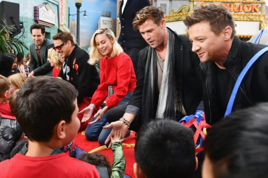 ANAHEIM, CA - APRIL 05: (L-R) Paul Rudd, Scarlett Johansson, Robert Downey Jr., Brie Larson, Chris Hemsworth and Jeremy Renner attend Avengers Universe Unites, a charity event to celebrate the donation of more than $5 million in cash and toys to nonprofits supporting children with critical illnesses, at Disney California Adventure Park on April 5, 2019 in Anaheim, California. (Photo by Emma McIntyre/Getty Images for Disney) *** Local Caption *** Jeremy Renner; Chris Hemsworth; Brie Larson; Robert Downey Jr.; Paul Rudd; Scarlett Johansson; Paul Rudd