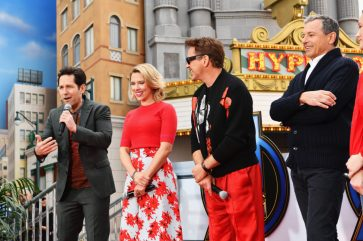 ANAHEIM, CA - APRIL 05: (L-R) Paul Rudd, Scarlett Johansson, Robert Downey Jr. and The Walt Disney Company Chairman and CEO Bob Iger attend Avengers Universe Unites, a charity event to celebrate the donation of more than $5 million in cash and toys to nonprofits supporting children with critical illnesses, at Disney California Adventure Park on April 5, 2019 in Anaheim, California. (Photo by Emma McIntyre/Getty Images for Disney) *** Local Caption *** Paul Rudd; Scarlett Johansson; Robert Downey Jr.; Bob Iger