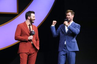 Chris Evans and Chris Hemsworth Onstage at the Avengers Endgame China Fan Event
