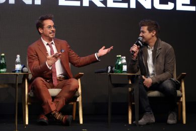 SEOUL, SOUTH KOREA - APRIL 15: Robert Downey Jr. and Jeremy Renner attend the press conference for Marvel Studios' 'Avengers: Endgame' South Korea premiere on April 15, 2019 in Seoul, South Korea. (Photo by Chung Sung-Jun/Getty Images for Disney)
