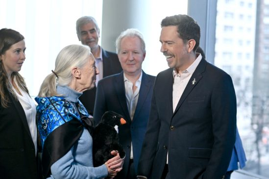NEW YORK, NEW YORK - APRIL 14: Disneynature Ambassador Dr. Jane Goodall and Narrator Ed Helms attend Disneynature's 'PENGUINS' Premiere hosted by The Cinema Society at AMC Lincoln Square Theater on April 14, 2019 in New York. (Photo by Roy Rochlin/Getty Images for Disney Studios)