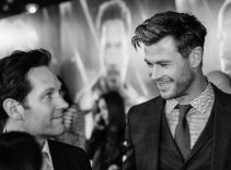 """LONDON, ENGLAND - APRIL 10: (EDITORS NOTE: Image has been converted to black and white) Paul Rudd and Chris Hemsworth attend the UK Fan Event to celebrate the release of Marvel Studios' """"Avengers: Endgame"""" at Picturehouse Central on April 10, 2019 in London, England. (Photo by Eamonn M. McCormack/Getty Images for Disney)"""